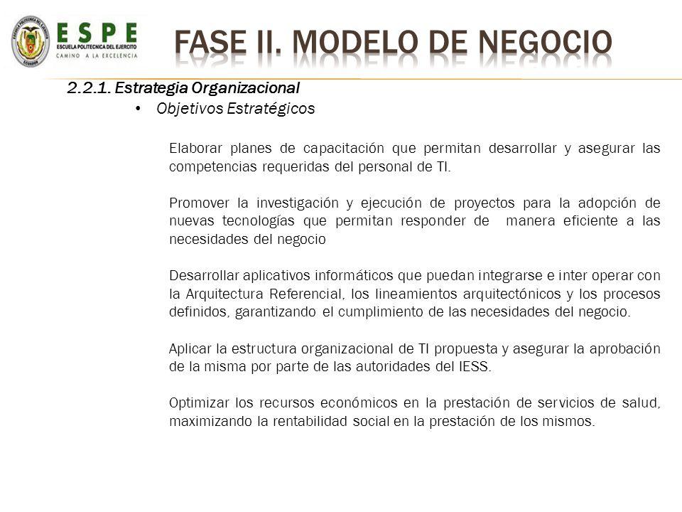 2.2.1. Estrategia Organizacional Objetivos Estratégicos Elaborar planes de capacitación que permitan desarrollar y asegurar las competencias requerida