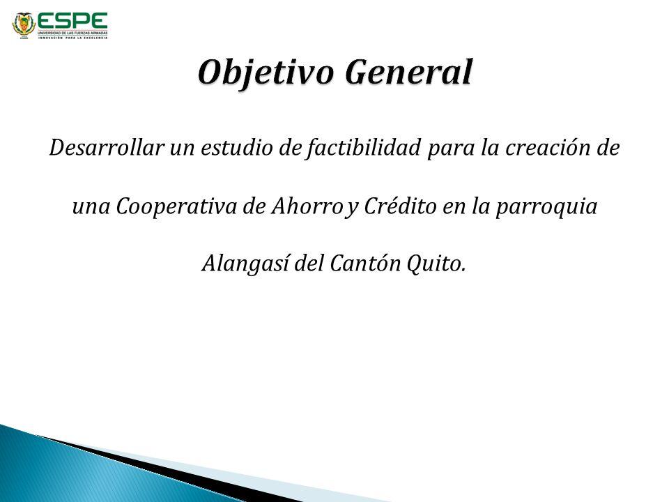 Desarrollar un estudio de factibilidad para la creación de una Cooperativa de Ahorro y Crédito en la parroquia Alangasí del Cantón Quito.