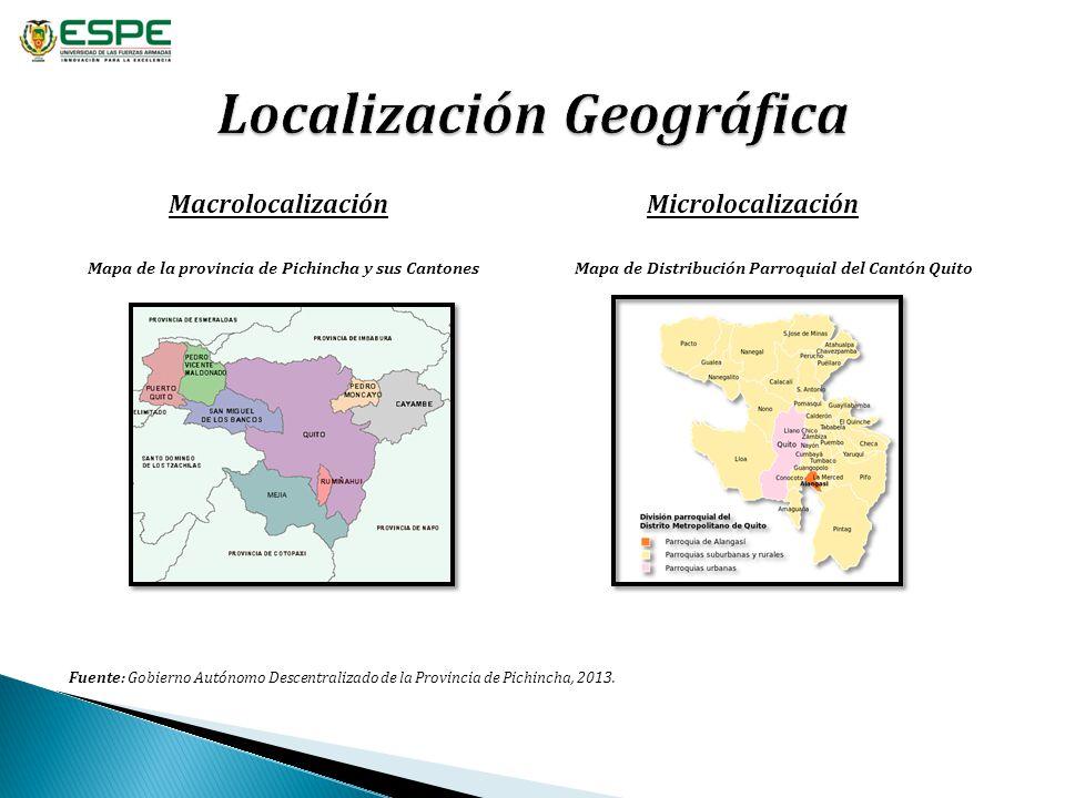 MacrolocalizaciónMicrolocalización Mapa de la provincia de Pichincha y sus Cantones Fuente: Gobierno Autónomo Descentralizado de la Provincia de Pichi