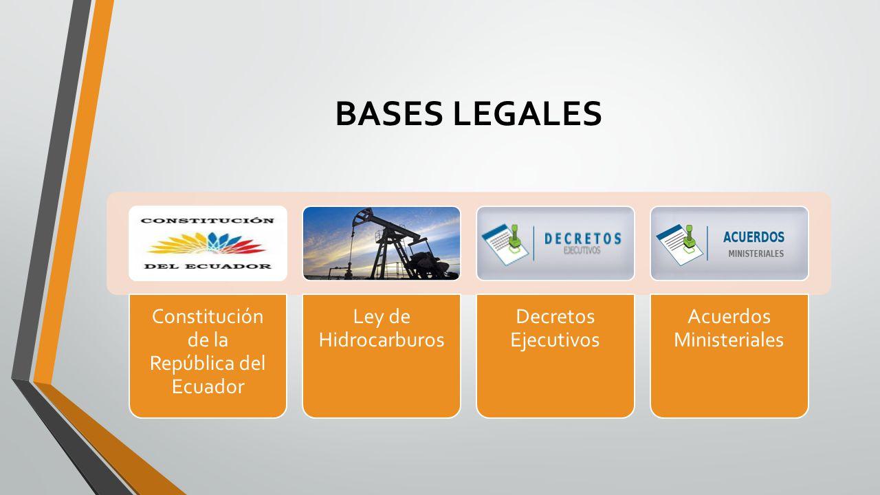 BASES LEGALES Constitución de la República del Ecuador Ley de Hidrocarburos Decretos Ejecutivos Acuerdos Ministeriales
