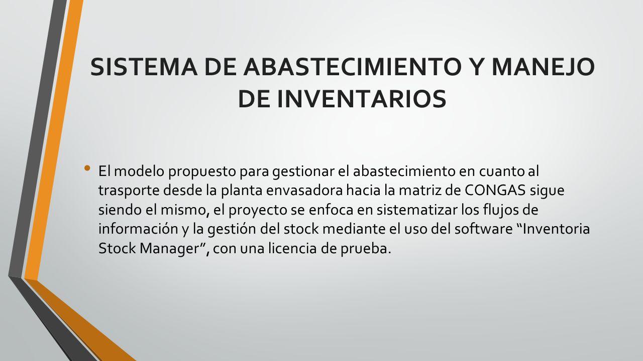 SISTEMA DE ABASTECIMIENTO Y MANEJO DE INVENTARIOS El modelo propuesto para gestionar el abastecimiento en cuanto al trasporte desde la planta envasado