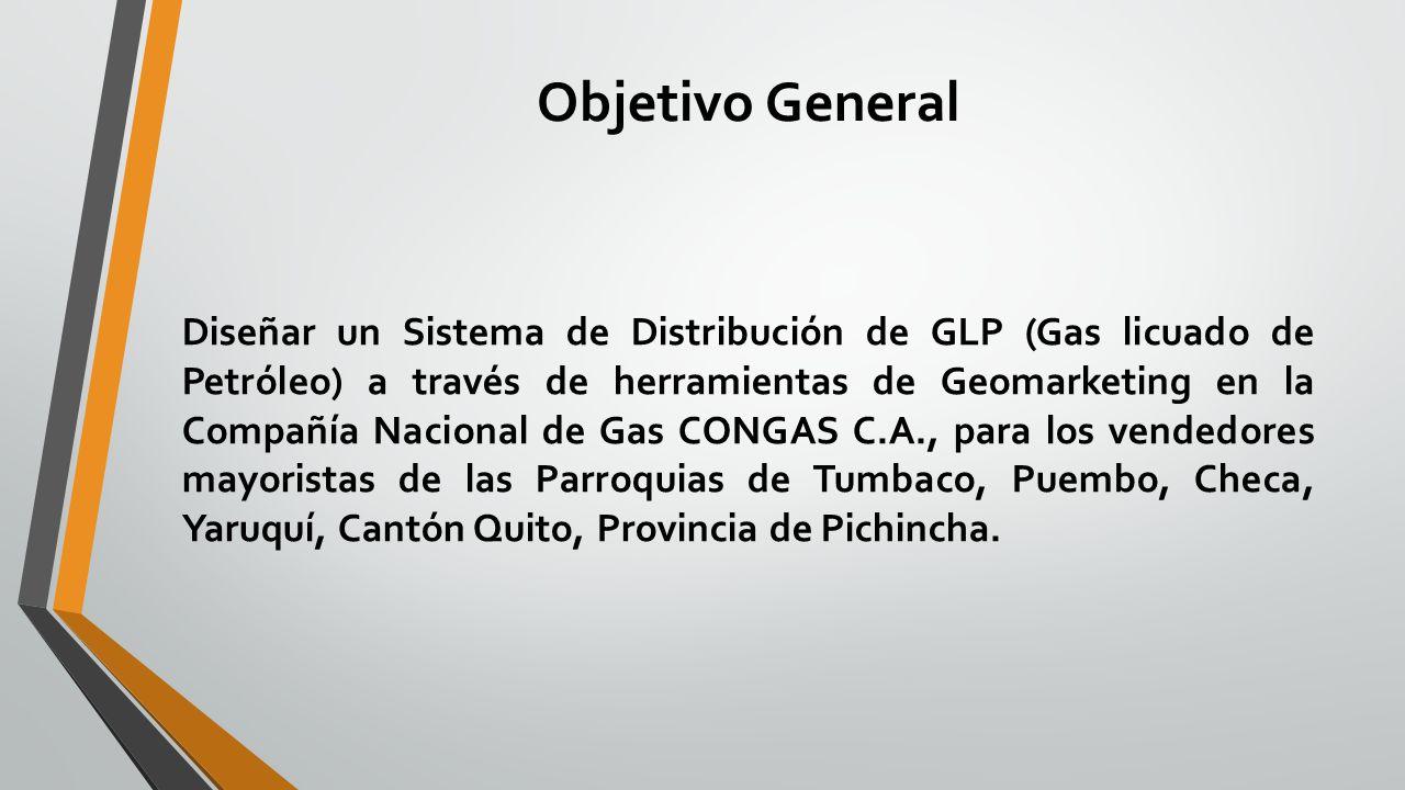 Objetivo General Diseñar un Sistema de Distribución de GLP (Gas licuado de Petróleo) a través de herramientas de Geomarketing en la Compañía Nacional