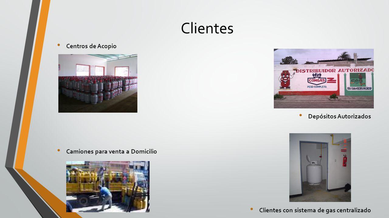 Clientes Centros de Acopio Depósitos Autorizados Camiones para venta a Domicilio Clientes con sistema de gas centralizado