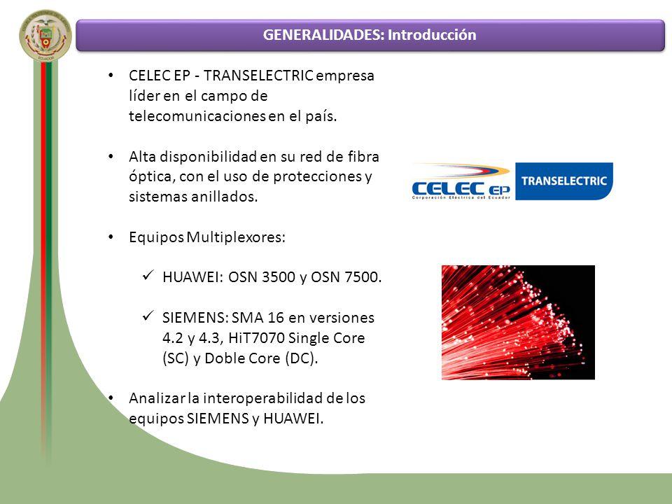 Funcionamiento de la tecnología SDH Estado actual de la red de transporte SDH de CELEC EP – TRANSELECTRIC Análisis comparativo entre los diversos tipos de protecciones GENERALIDADES: Equipos Multiplexores Pruebas de funcionamiento de los diferentes esquemas de protección en la red SDH de CELEC EP - TRANSELECTRIC Hit 7070 Siemens OSN 7500 Huawei