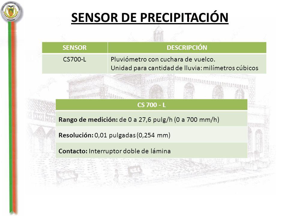 SENSOR DE PRECIPITACIÓN SENSORDESCRIPCIÓN CS700-LPluviómetro con cuchara de vuelco. Unidad para cantidad de lluvia: milímetros cúbicos CS 700 - L Rang