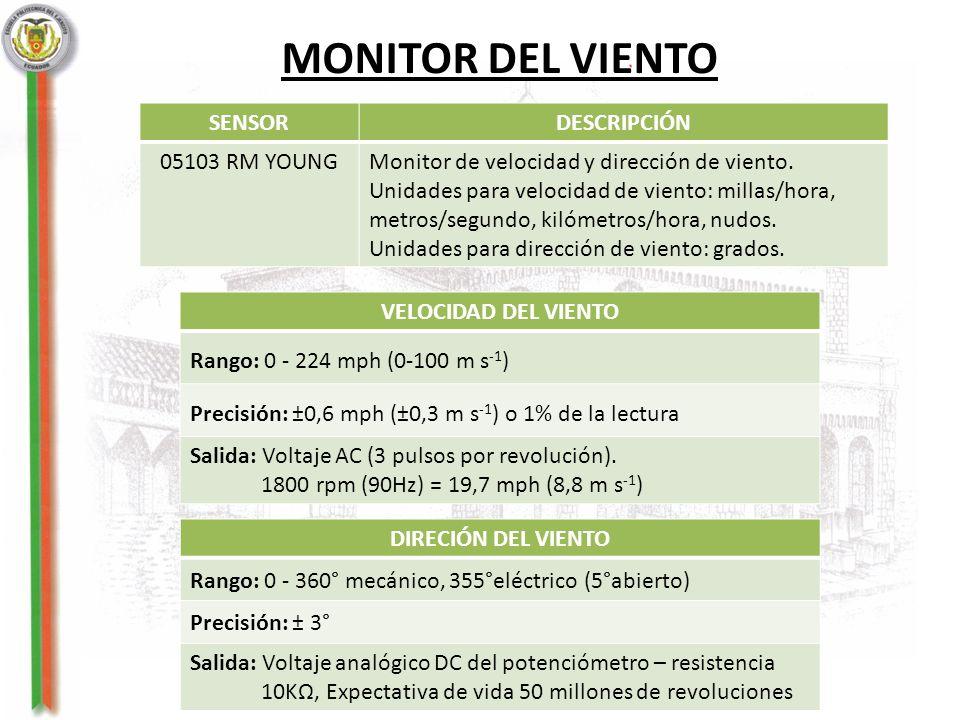 MONITOR DEL VIENTO SENSORDESCRIPCIÓN 05103 RM YOUNGMonitor de velocidad y dirección de viento. Unidades para velocidad de viento: millas/hora, metros/
