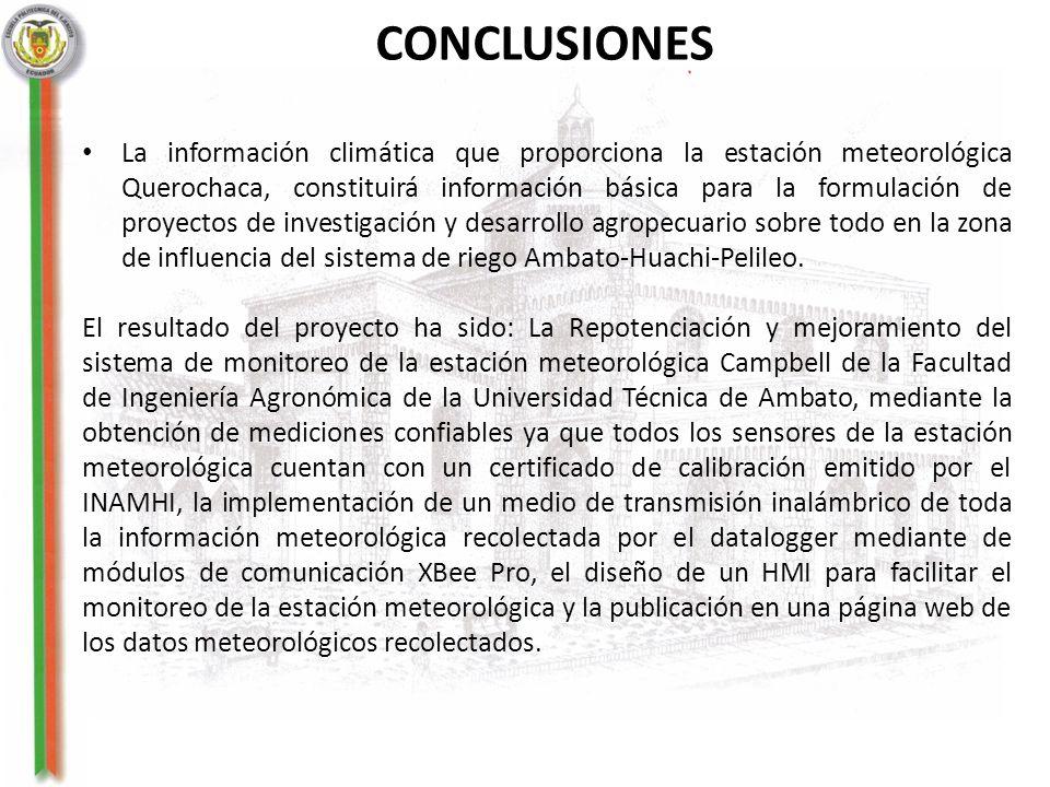 CONCLUSIONES La información climática que proporciona la estación meteorológica Querochaca, constituirá información básica para la formulación de proy