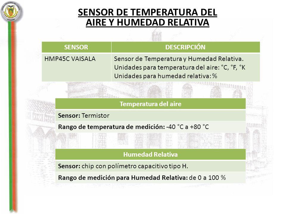 SENSOR DE TEMPERATURA DEL AIRE Y HUMEDAD RELATIVA SENSORDESCRIPCIÓN HMP45C VAISALASensor de Temperatura y Humedad Relativa. Unidades para temperatura
