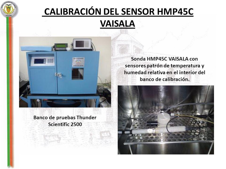 CALIBRACIÓN DEL SENSOR HMP45C VAISALA Sonda HMP45C VAISALA con sensores patrón de temperatura y humedad relativa en el interior del banco de calibraci