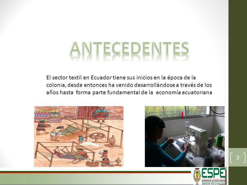El sector textil en Ecuador tiene sus inicios en la época de la colonia, desde entonces ha venido desarrollándose a través de los años hasta forma parte fundamental de la economía ecuatoriana 3