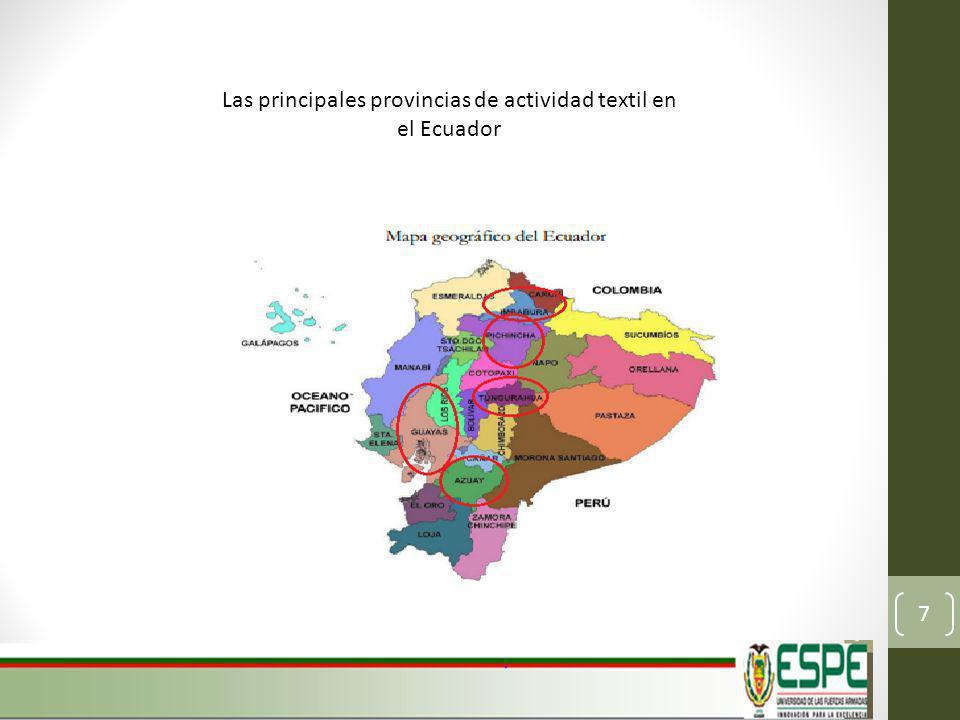 Las principales provincias de actividad textil en el Ecuador 7