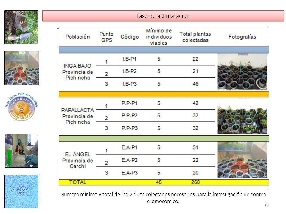 Número mínimo y total de individuos colectados necesarios para la investigación de conteo cromosómico.