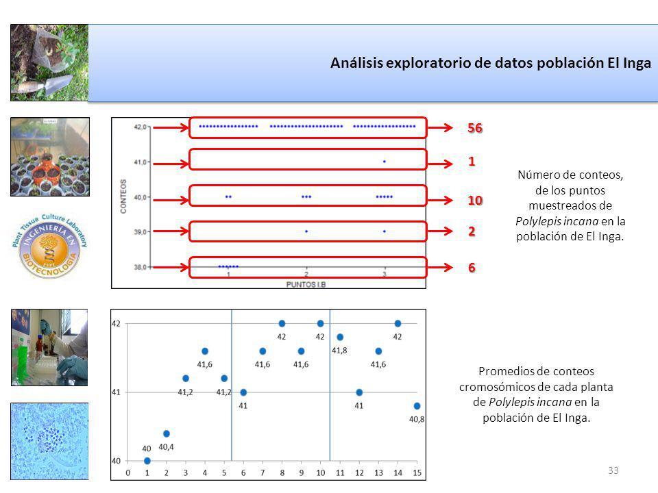 Análisis exploratorio de datos población El Inga Número de conteos, de los puntos muestreados de Polylepis incana en la población de El Inga.