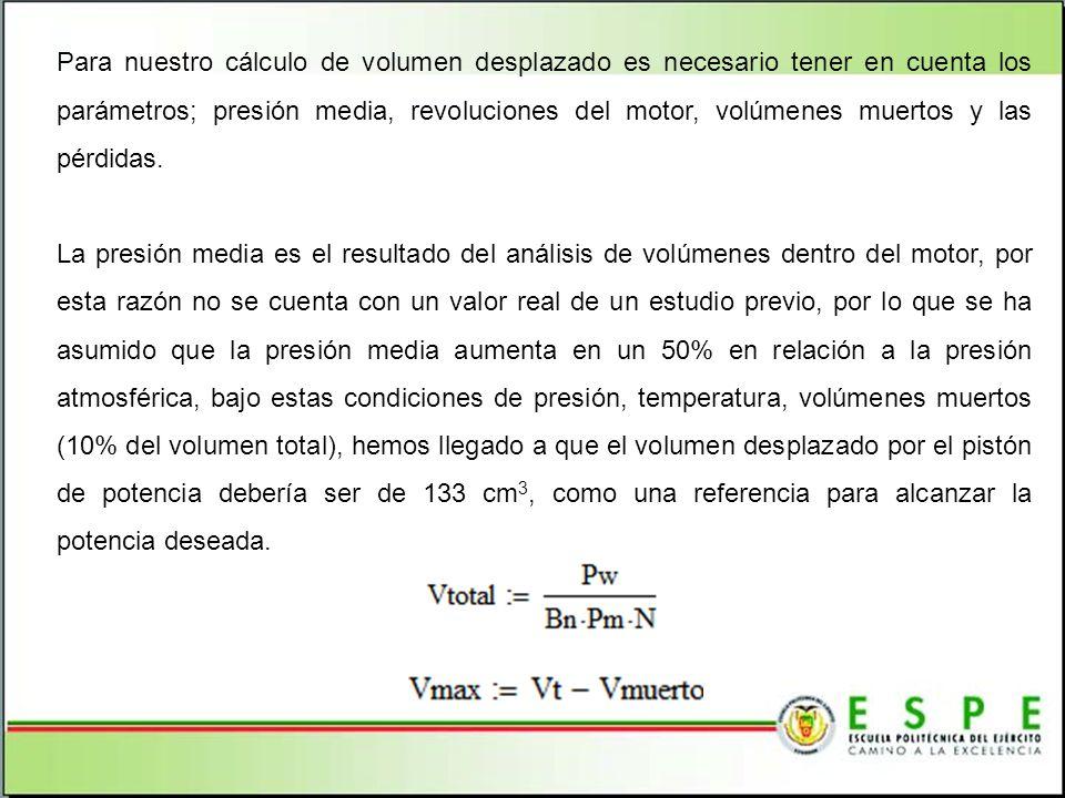 Para nuestro cálculo de volumen desplazado es necesario tener en cuenta los parámetros; presión media, revoluciones del motor, volúmenes muertos y las