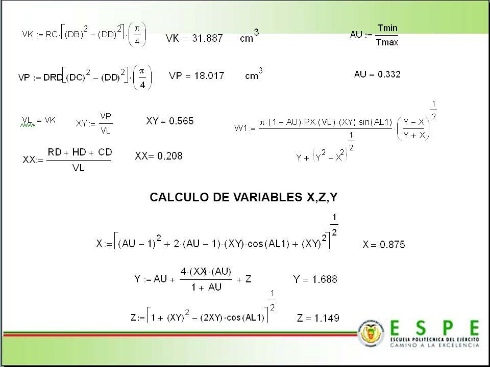 CALCULO DE VARIABLES X,Z,Y