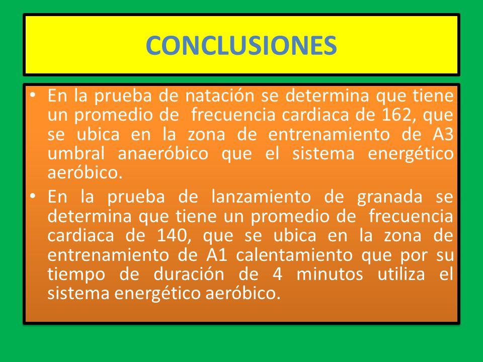 CONCLUSIONES En la prueba de natación se determina que tiene un promedio de frecuencia cardiaca de 162, que se ubica en la zona de entrenamiento de A3 umbral anaeróbico que el sistema energético aeróbico.
