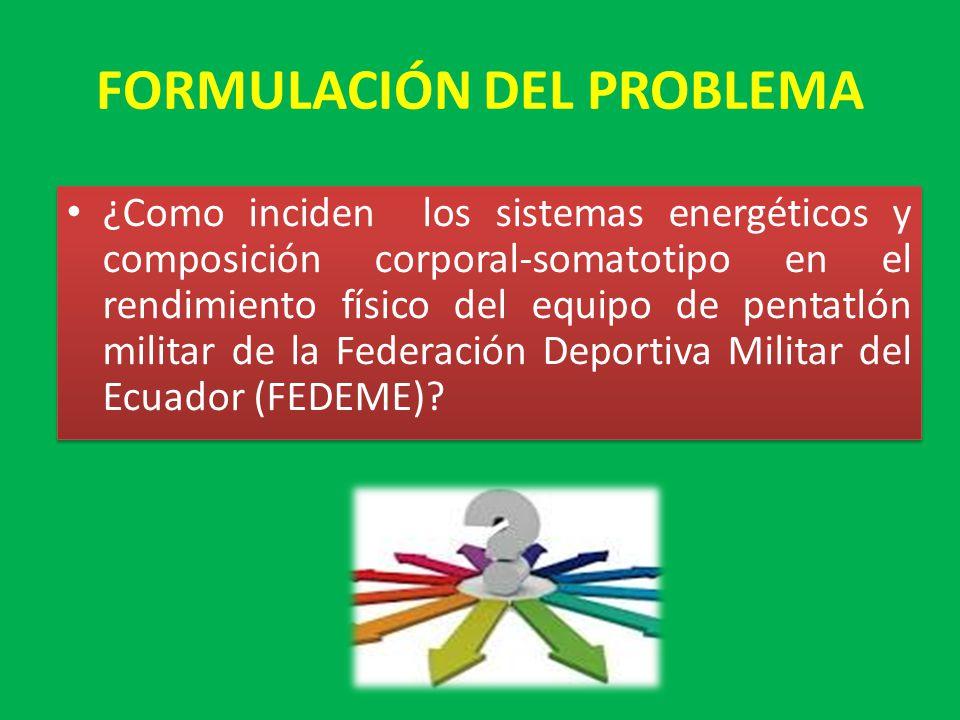 FORMULACIÓN DEL PROBLEMA ¿Como inciden los sistemas energéticos y composición corporal-somatotipo en el rendimiento físico del equipo de pentatlón militar de la Federación Deportiva Militar del Ecuador (FEDEME)?