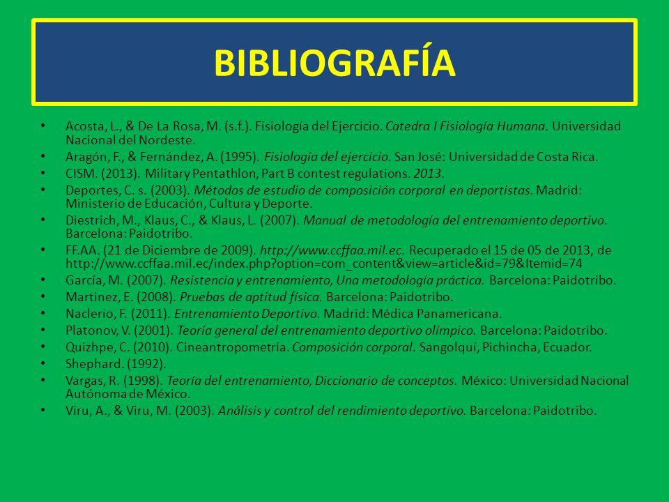 BIBLIOGRAFÍA Acosta, L., & De La Rosa, M. (s.f.). Fisiología del Ejercicio. Catedra I Fisiología Humana. Universidad Nacional del Nordeste. Aragón, F.