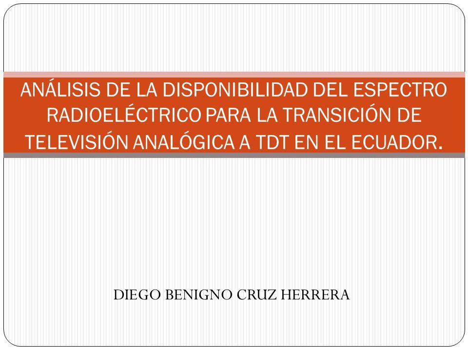 RESUMEN En la presente disertación se describe la situación actual del espectro radioeléctrico en el sector de radiodifusión y televisión, el cual se encuentra saturado, además se enuncian las alternativas que se tienen para liberar bandas de espectro, con el fin de migrar de televisión analógica a televisión digital terrestre en Ecuador.