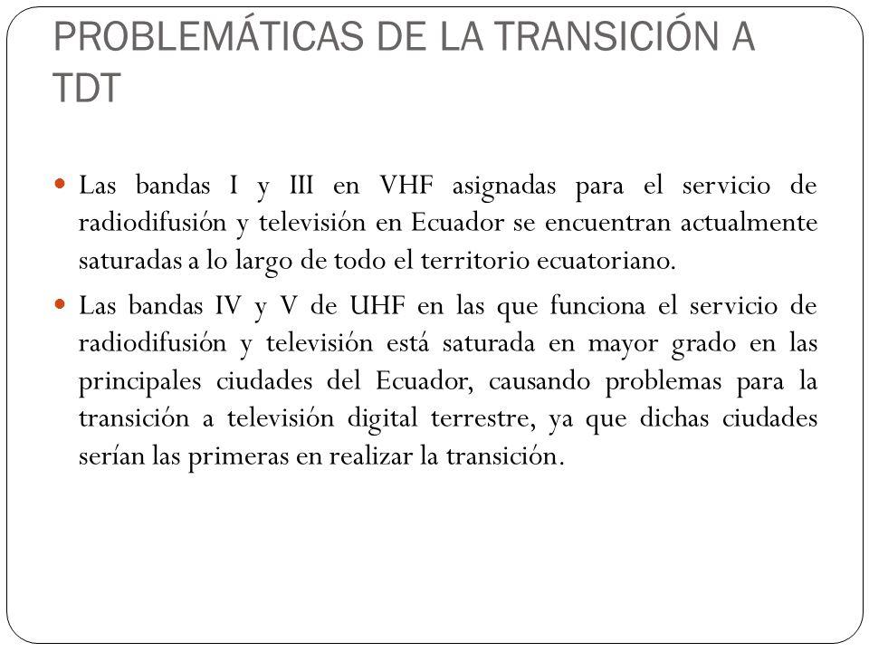 PROBLEMÁTICAS DE LA TRANSICIÓN A TDT Las bandas I y III en VHF asignadas para el servicio de radiodifusión y televisión en Ecuador se encuentran actua