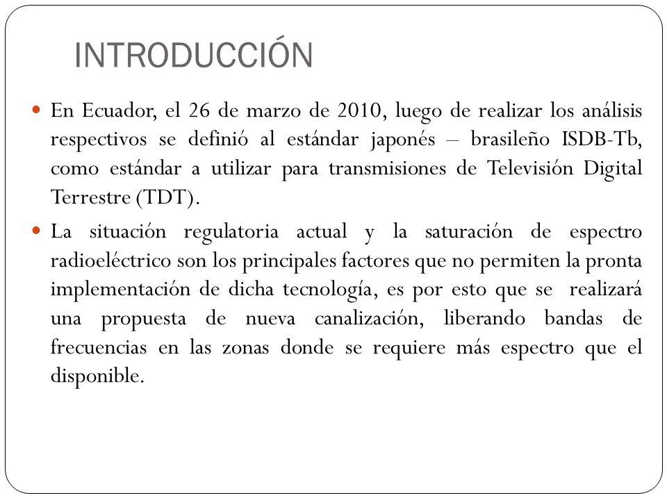 INTRODUCCIÓN En Ecuador, el 26 de marzo de 2010, luego de realizar los análisis respectivos se definió al estándar japonés – brasileño ISDB-Tb, como e