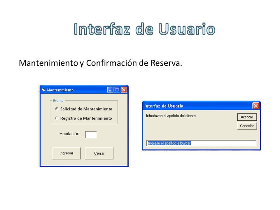 Mantenimiento y Confirmación de Reserva.