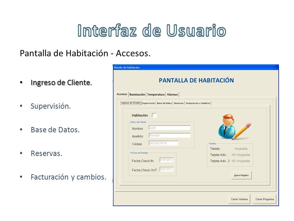 Pantalla de Habitación - Accesos. Ingreso de Cliente. Ingreso de Cliente. Supervisión. Base de Datos. Reservas. Facturación y cambios.