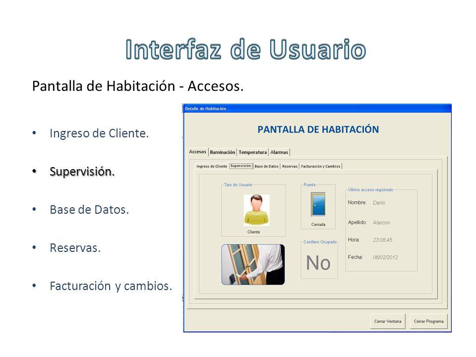 Pantalla de Habitación - Accesos. Ingreso de Cliente. Supervisión. Supervisión. Base de Datos. Reservas. Facturación y cambios.