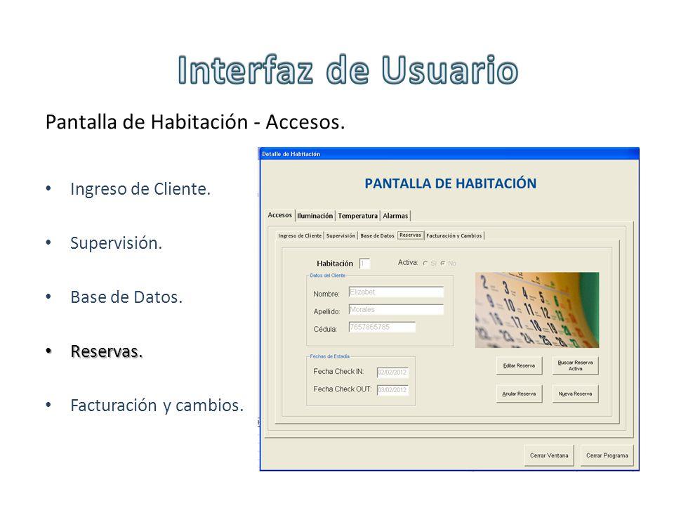 Pantalla de Habitación - Accesos. Ingreso de Cliente. Supervisión. Base de Datos. Reservas. Reservas. Facturación y cambios.