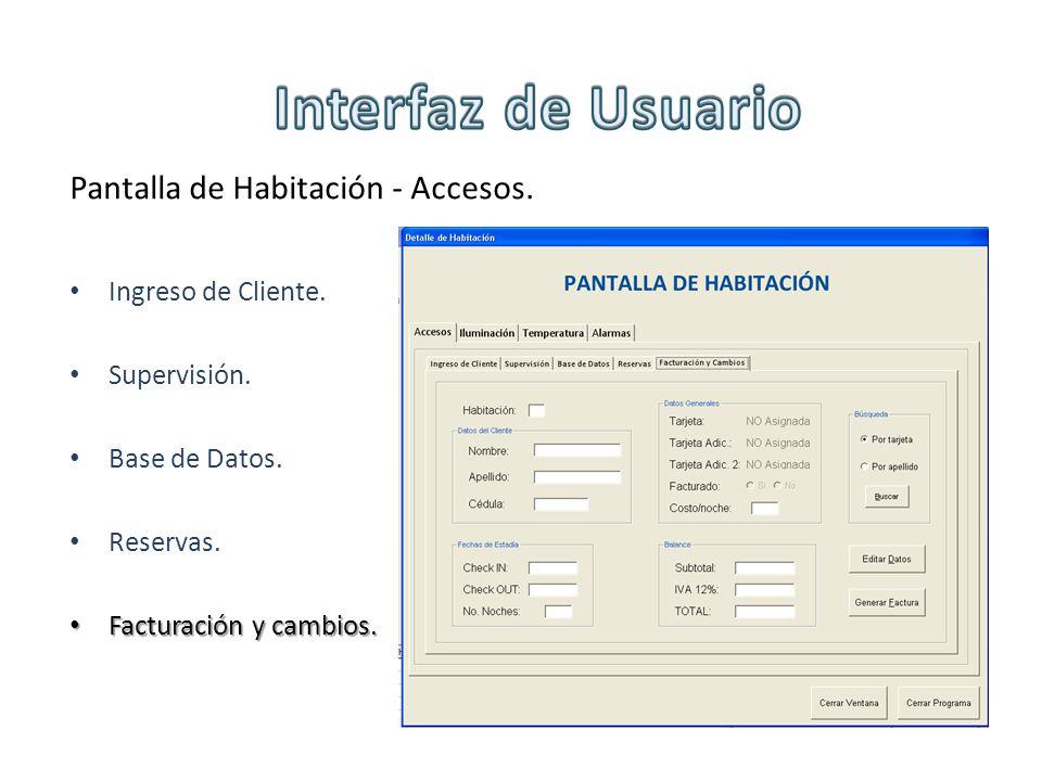 Pantalla de Habitación - Accesos. Ingreso de Cliente. Supervisión. Base de Datos. Reservas. Facturación y cambios. Facturación y cambios.