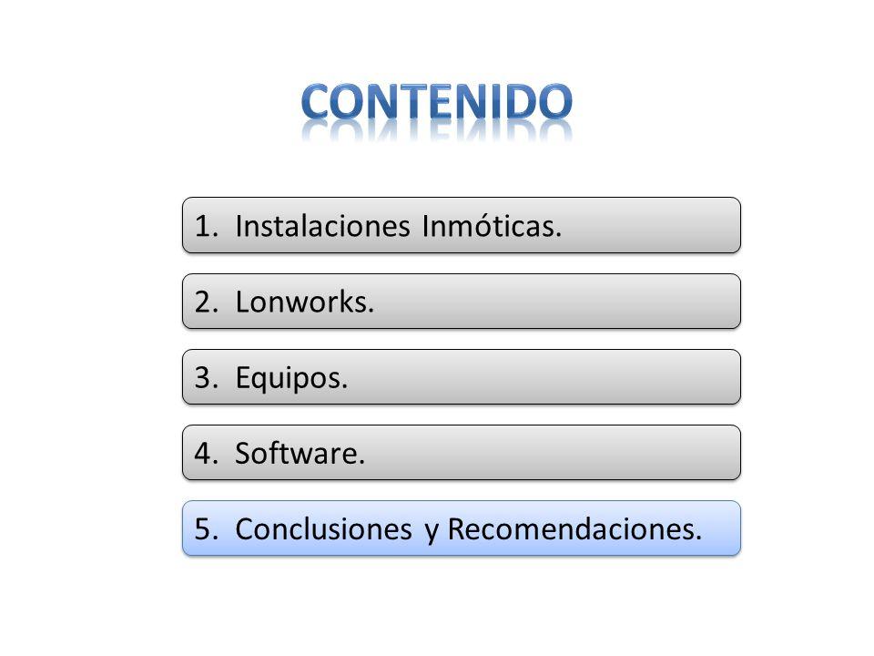 5. Conclusiones y Recomendaciones. 4. Software. 3. Equipos. 2. Lonworks. 1. Instalaciones Inmóticas.