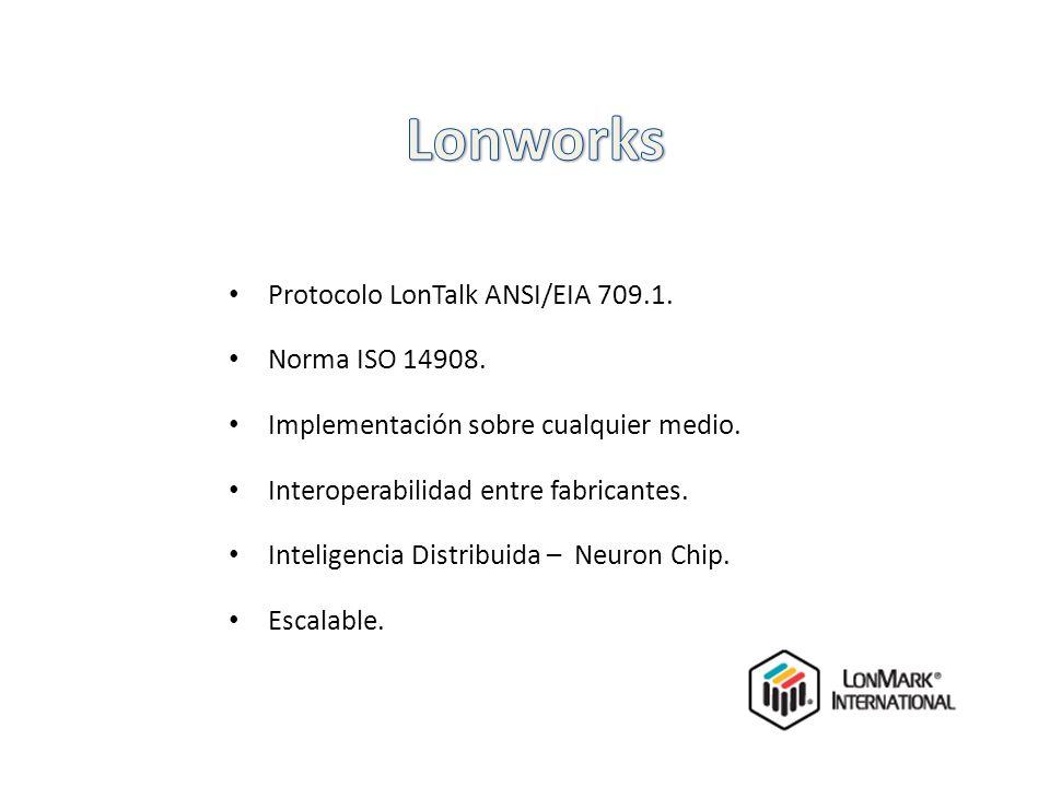 Protocolo LonTalk ANSI/EIA 709.1. Norma ISO 14908. Implementación sobre cualquier medio. Interoperabilidad entre fabricantes. Inteligencia Distribuida