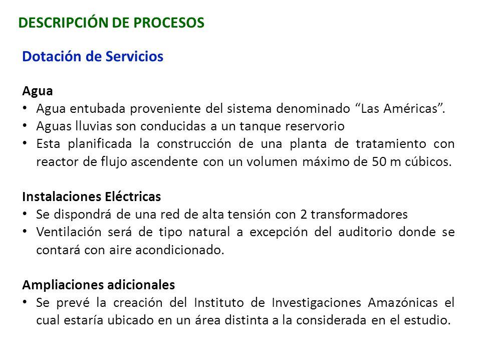 DESCRIPCIÓN DE PROCESOS Dotación de Servicios Agua Agua entubada proveniente del sistema denominado Las Américas. Aguas lluvias son conducidas a un ta