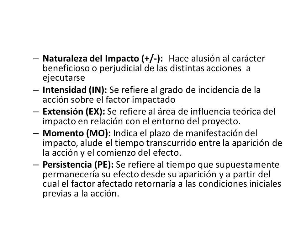 – Naturaleza del Impacto (+/-):Hace alusión al carácter beneficioso o perjudicial de las distintas acciones a ejecutarse – Intensidad (IN): Se refiere