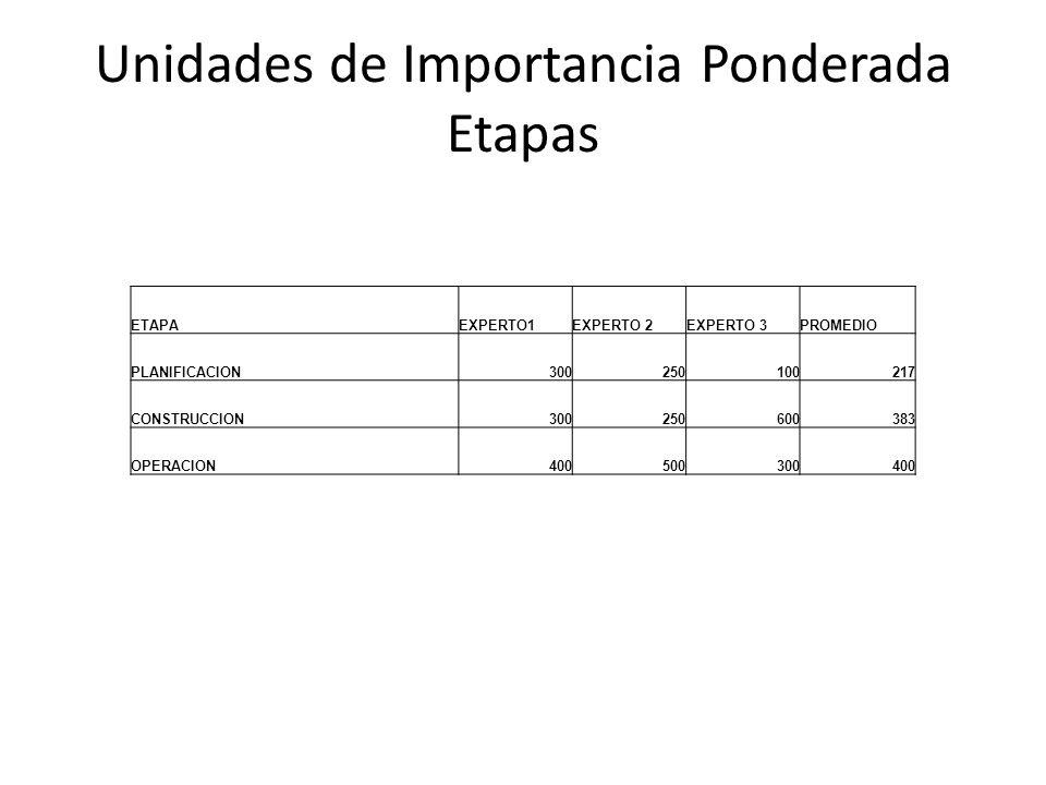 Unidades de Importancia Ponderada Etapas ETAPAEXPERTO1EXPERTO 2EXPERTO 3PROMEDIO PLANIFICACION300250100217 CONSTRUCCION300250600383 OPERACION400500300