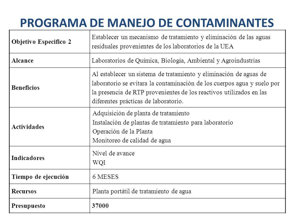 Objetivo Especifico 2 Establecer un mecanismo de tratamiento y eliminación de las aguas residuales provenientes de los laboratorios de la UEA AlcanceL