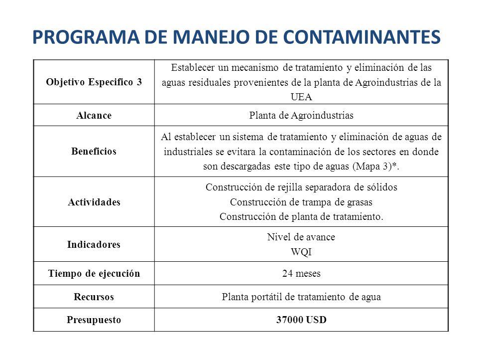 Objetivo Especifico 3 Establecer un mecanismo de tratamiento y eliminación de las aguas residuales provenientes de la planta de Agroindustrias de la U