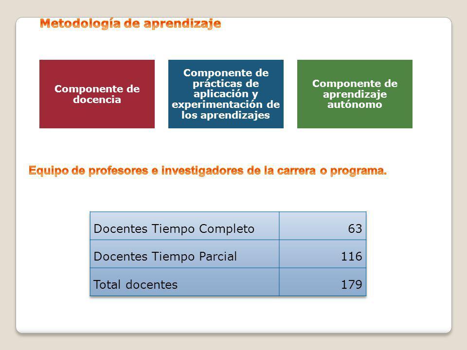 Componente de docencia Componente de prácticas de aplicación y experimentación de los aprendizajes Componente de aprendizaje autónomo