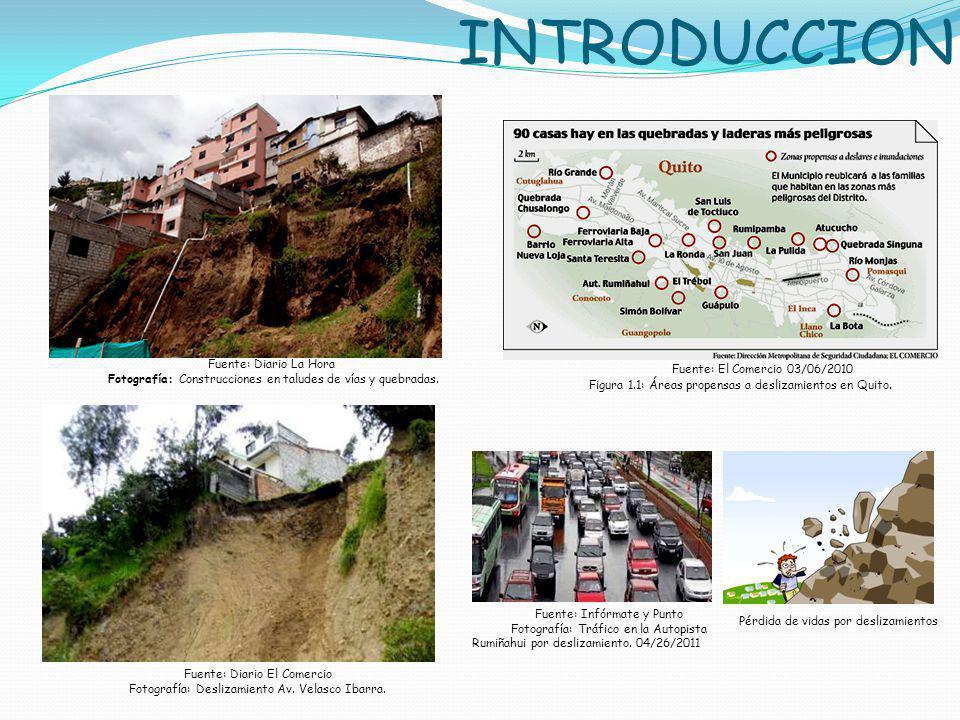 INTRODUCCION Fuente: Diario La Hora Fotografía: Construcciones en taludes de vías y quebradas. Fuente: El Comercio 03/06/2010 Figura 1.1: Áreas propen