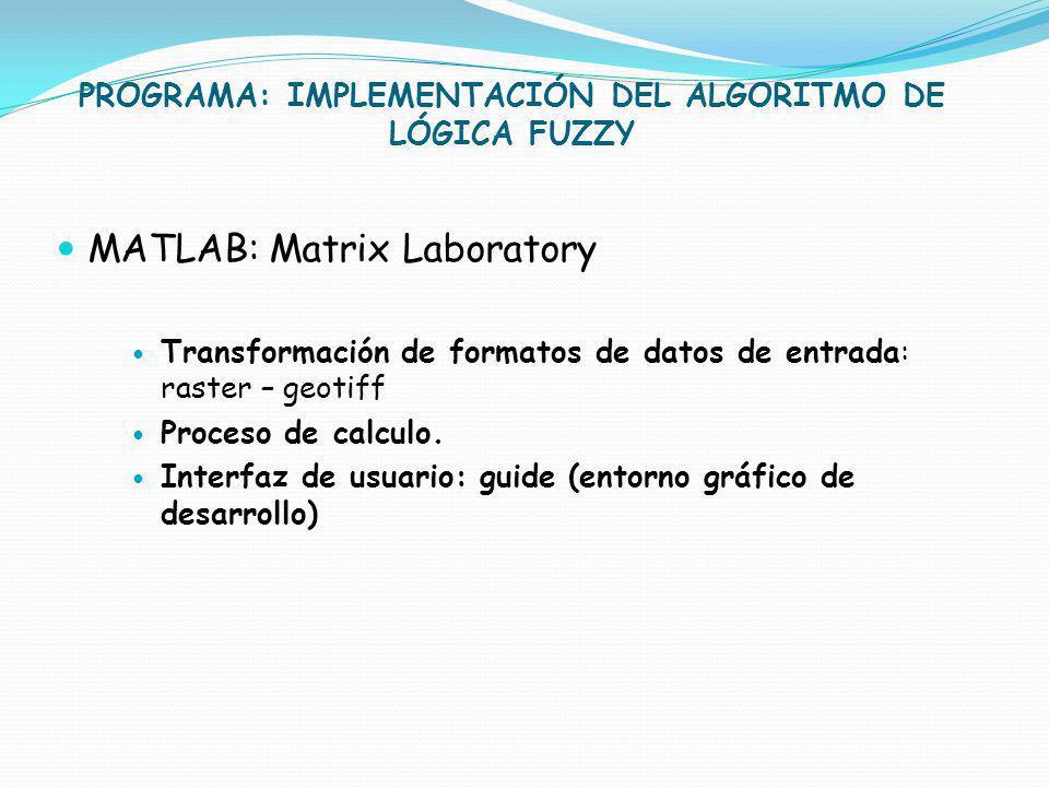PROGRAMA: IMPLEMENTACIÓN DEL ALGORITMO DE LÓGICA FUZZY MATLAB: Matrix Laboratory Transformación de formatos de datos de entrada: raster – geotiff Proc