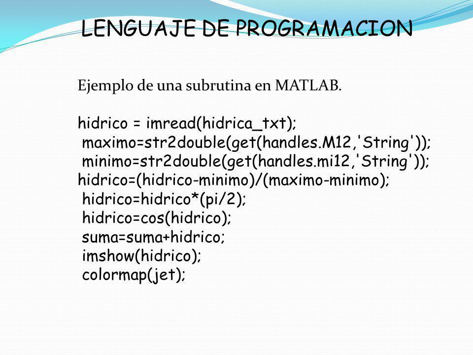 LENGUAJE DE PROGRAMACION Ejemplo de una subrutina en MATLAB. hidrico = imread(hidrica_txt); maximo=str2double(get(handles.M12,'String')); minimo=str2d