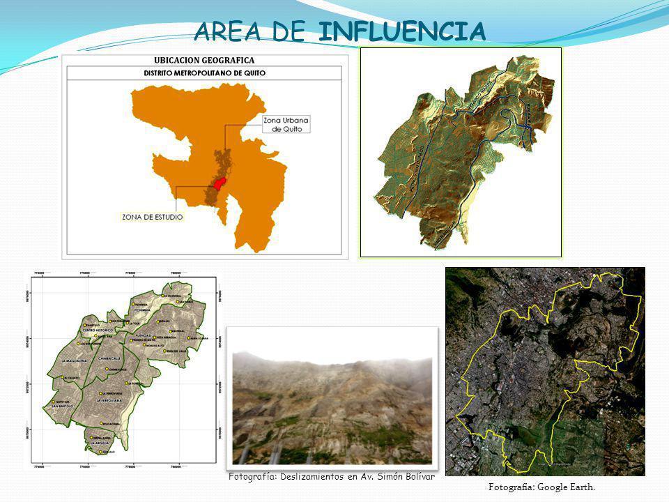 AREA DE INFLUENCIA Fotografía: Deslizamientos en Av. Simón Bolívar Fotografía: Google Earth.
