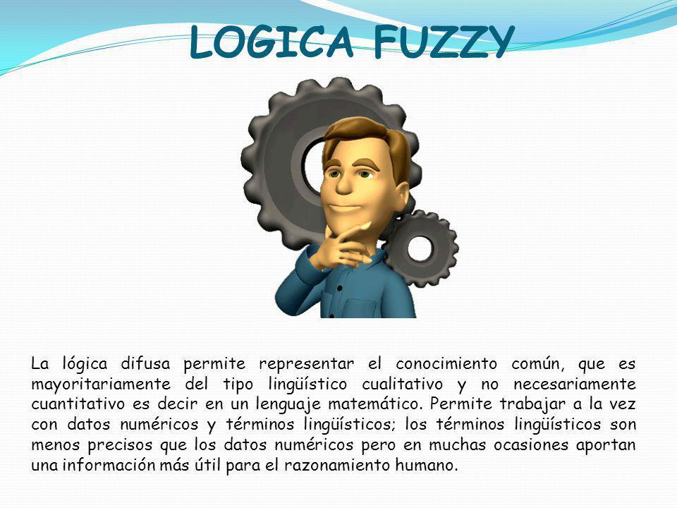 LOGICA FUZZY La lógica difusa permite representar el conocimiento común, que es mayoritariamente del tipo lingüístico cualitativo y no necesariamente
