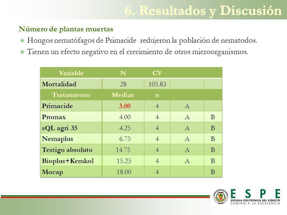 Número de plantas muertas Hongos nematófagos de Primacide redujeron la población de nematodos.