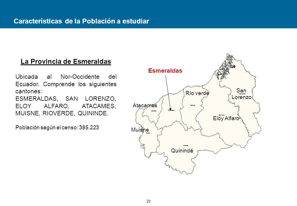 29 Características de la Población a estudiar La Provincia de Esmeraldas Ubicada al Nor-Occidente del Ecuador.