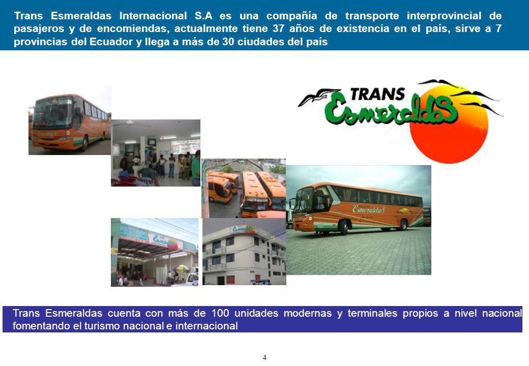 4 Trans Esmeraldas Internacional S.A es una compañía de transporte interprovincial de pasajeros y de encomiendas, actualmente tiene 37 años de existencia en el país, sirve a 7 provincias del Ecuador y llega a más de 30 ciudades del país Trans Esmeraldas cuenta con más de 100 unidades modernas y terminales propios a nivel nacional fomentando el turismo nacional e internacional
