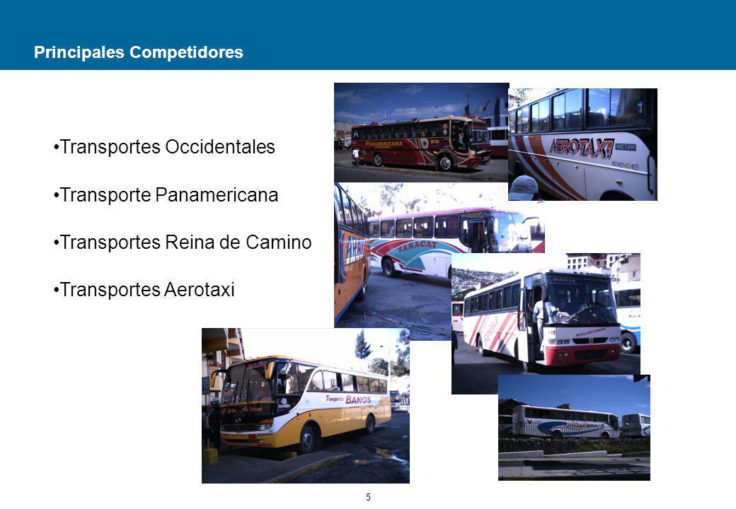 6 Líneas y Giro del Negocio La Compañía se encuentra en los primeros sitiales de su clase; cuenta con una moderna flota de 110 vehículos, bien equipados; en su vida institucional ha realizado varios procesos íntegros de renovación de unidades; desde su domicilio principal ubicado en la ciudad de Quito, sirve a los siguientes destinos: Guayaquil, Esmeraldas, Atacames, Borbón, San Lorenzo, Salinas, Machala, Huaquillas, Lago Agrio, Coca, Loja, Cuenca, Portoviejo y Manta.