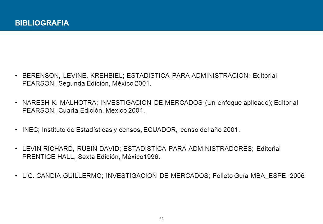 51 BIBLIOGRAFIA BERENSON, LEVINE, KREHBIEL; ESTADISTICA PARA ADMINISTRACION; Editorial PEARSON, Segunda Edición, México 2001.