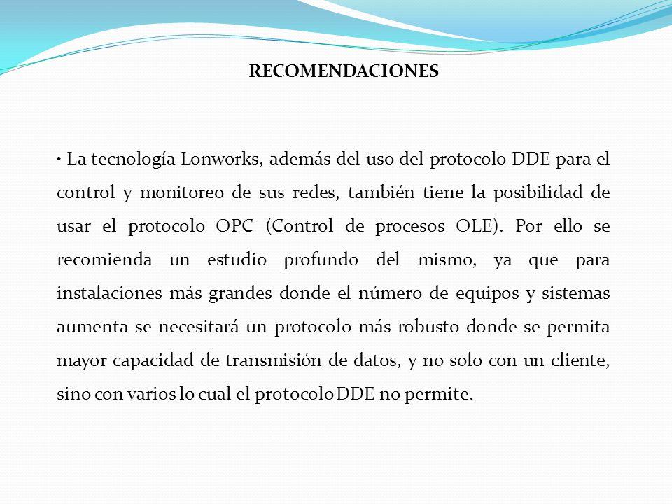 La tecnología Lonworks, además del uso del protocolo DDE para el control y monitoreo de sus redes, también tiene la posibilidad de usar el protocolo OPC (Control de procesos OLE).