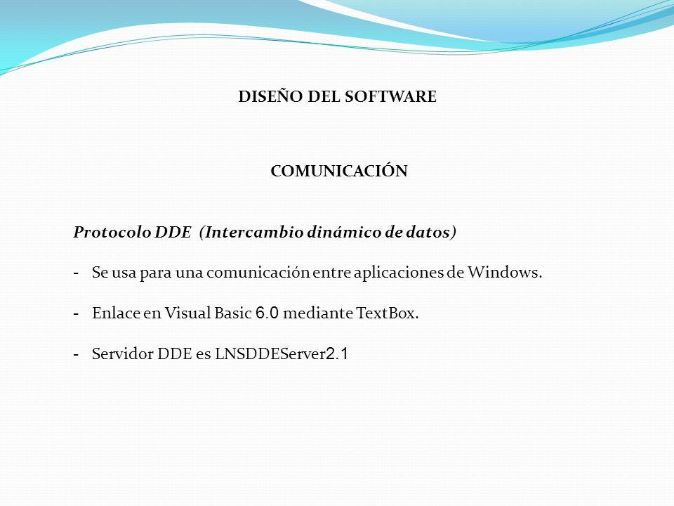 DISEÑO DEL SOFTWARE COMUNICACIÓN Protocolo DDE (Intercambio dinámico de datos) - Se usa para una comunicación entre aplicaciones de Windows. - Enlace